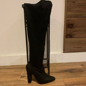 Thigh High Suede Heeled Booties: Just Fab